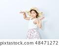 asian slim girl  wearing hat on white background. 48471272