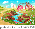 Fantasy landscape with river, tree and castle 48472150