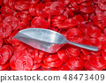 Red Twisted Spiral Jelly with big metal spoon. 48473409