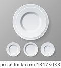 Plate Vector. Top View. Dinner White Clean Empty Plate. Kitchen Restaurant Dish. 3D Realistic 48475038