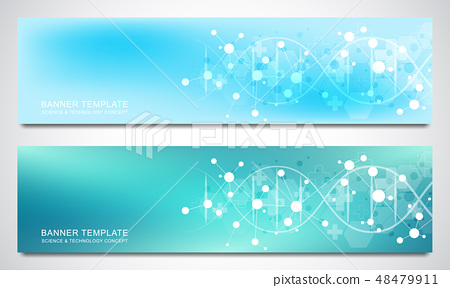 Banners and headers for site with DNA strand and molecular structure. Genetic engineering or 48479911