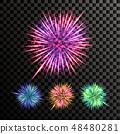 Firework Vector. Festive Explosion Light. Isolated On Transparent Background Realistic Illustration 48480281