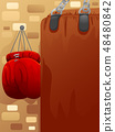 Boxing Bag Gloves Illustration 48480842