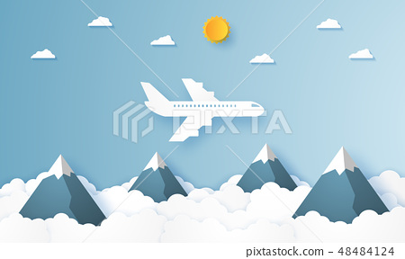 Airplane flying over mountains , paper art style 48484124