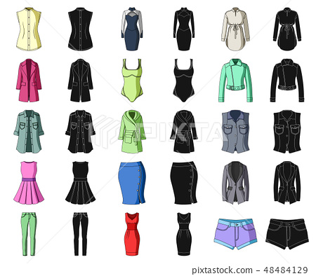 Women's Clothing cartoon,black icons in set collection for design.Clothing Varieties and Accessories 48484129