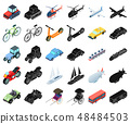 Different types of transport cartoon,black icons in set collection for design. Car and ship 48484503