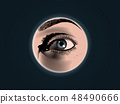 Engraving spy eye drawing with color illustration 48490666