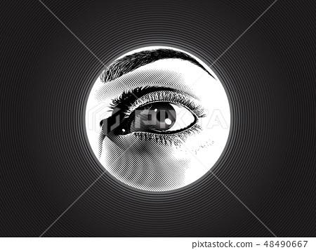 Engraving spy eye drawing monochrome illustration 48490667