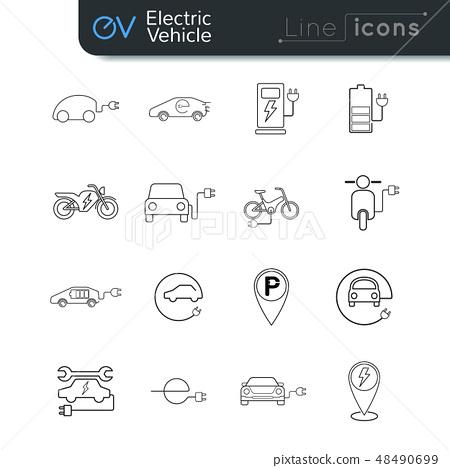 Electric vehicle line icon set  black on white BG 48490699