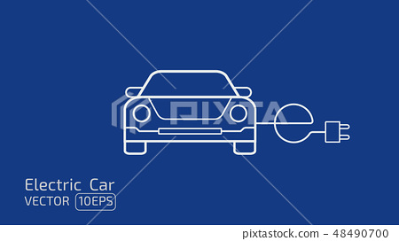 Electric car concept line icon on blue space BG 48490700