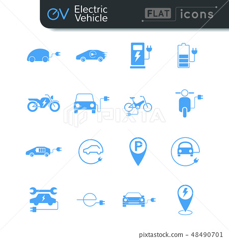 Electric vehicle flat icon set in blue color 48490701