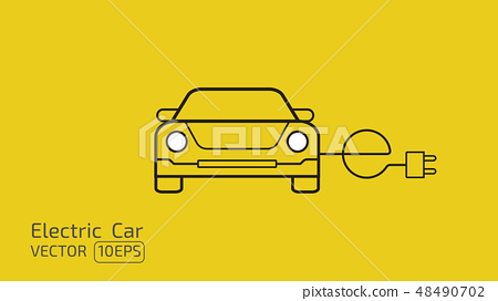 Electric car concept line icon on yellow space BG 48490702