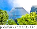 許多綠色辦公室街道風景 48493373