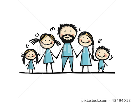 Happy family together, sketch for your design 48494018
