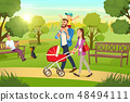 Happy Family Strolling with Pram In Park Vector 48494111