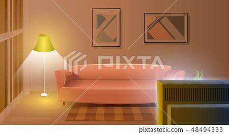Modern Living Room With Working Tv Cartoon Vector Stock Illustration 48494333 Pixta