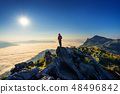 Traveler standing on the rock. 48496842