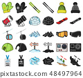 Ski resort and equipment cartoon,black icons in set collection for design. Entertainment and 48497964