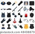 Police, Department cartoon,black icons in set collection for design.Detective and accessories vector 48498879