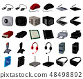 Personal computer cartoon,black icons in set collection for design. Equipment and accessories vector 48498892
