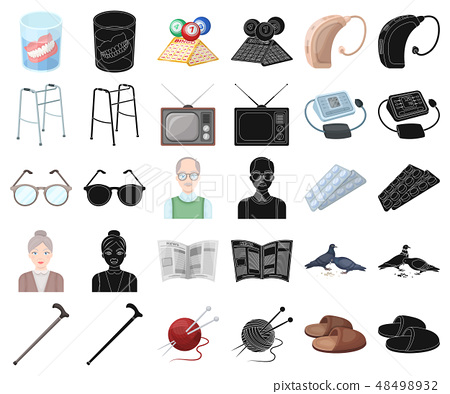 Human old age cartoon,black icons in set collection for design. Pensioner, period of life vector 48498932