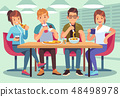 Friends cafe. Friendly people eat drink lunch table fun seating friendship young guys meeting 48498978