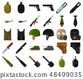 Army and armament cartoon,black icons in set collection for design. Weapons and equipment vector 48499035