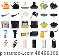 Kitchen equipment cartoon,black icons in set collection for design. Kitchen and accessories vector 48499109
