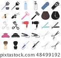 Hairdresser and tools cartoon,black icons in set collection for design.Profession hairdresser vector 48499192