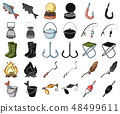 Fishing and rest cartoon,black icons in set collection for design. Tackle for fishing vector symbol 48499611