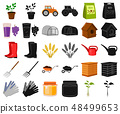 Farm and gardening cartoon,black icons in set collection for design. Farm and equipment vector 48499653