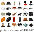 England country cartoon,black icons in set collection for design.Travel and attractions vector 48499707