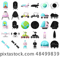 Vector illustration of mars and space icon. Set of mars and planet vector icon for stock. 48499839