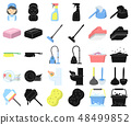 Cleaning and maid cartoon,black icons in set collection for design. Equipment for cleaning vector 48499852