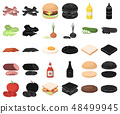 Burger and ingredients cartoon,black icons in set collection for design. Burger cooking vector 48499945