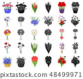A bouquet of fresh flowers cartoon,black icons in set collection for design. Various bouquets vector 48499971