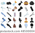 Barbershop and equipment cartoon,black icons in set collection for design. Haircut and shave vector 48500004