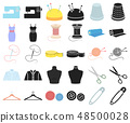 Atelier and sewing cartoon,black icons in set collection for design. Equipment and tools for sewing 48500028