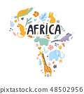 Hand drawn map of Africa with charactes 48502956
