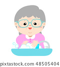 Grandmother washing his hands vector. 48505404