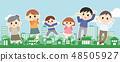 三代家庭跳城市剪影例證 48505927