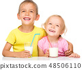 Cute little girl and boy are drinking milk 48506110