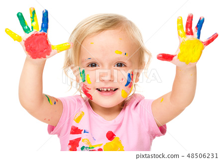 Portrait of a cute little girl playing with paints 48506231