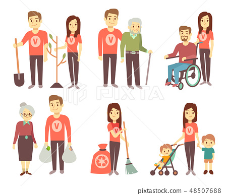 Volunteer helping to disabled people vector characters set for volunteering concept 48507688