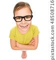 Portrait of a little girl wearing glasses 48508716