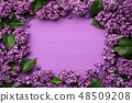 Spring card with a lilac frame of flowers 48509208