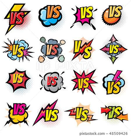 Battle competition versus vector logos set. Vs rivals challenge emblems and labels 48509426