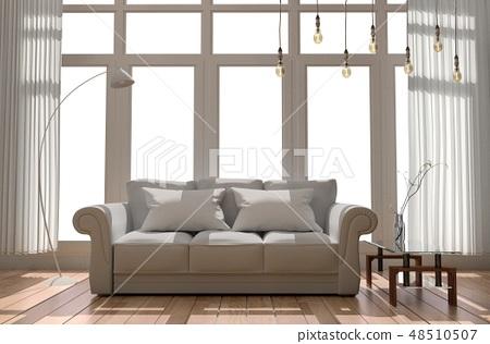 Modern black fabric sofa in white room interior 48510507