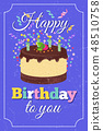 Retro happy birthday party vector greeting card with cartoon cake and burned candles 48510758