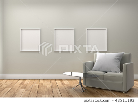 Sofa and picture, wooden floor on empty 48511192